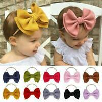 Toddler Girls Baby Big Bow Hairband Headband Stretch Nylon Turban Knot Head Wrap