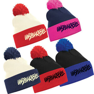 Unspeakable Embroidery Kids 2- tone beanie Wolly Winter Hat Xmas Present Gift