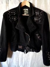 Pour La Vie De Morgan Wear Vintage Black Denim Glam  Biker  Studded Jacket   M