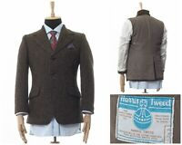 Mens HARRIS TWEED Blazer Coat Jacket Wool Two Button Brown Size 38 48