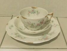 C. Ahrenfeldt Limoges France Depose Tea Cup, Saucer & Desert Dish Pink Floral