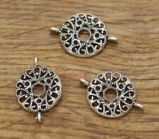 20 Round Connector Charms Filigree Charm Antique Silver Tone 24x16mm 2019