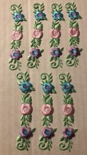 New listing Floral Patches Iron On Pink Green Blue Purple Lot 7