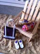 "Dollhouse Miniature Beach Set #4 Flip Flops Sandals Hat Towel Bag 1"" Scale 1:12"