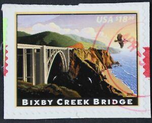 U.S. Used #4439 $18.30 Bixby Creek Bridge on piece, Superb. Red CDS Cancel. Gem!