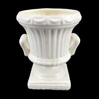 Vintage Glazed White Ceramic Two Handled Pedestal Urn Planter Flower Vase
