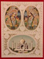 Hand Painted Mughal Shah Jahan and Mumtaz Miniature Painting India Artwork