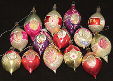 LOT Handpainted ANTIQUE Christmas Ornaments Mercury Glass Indented Bulbs