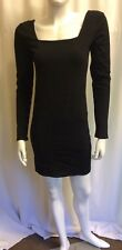 Black Tight Fit Long Sleeves Club/Party Bodycon Mini Dress UK 8-10