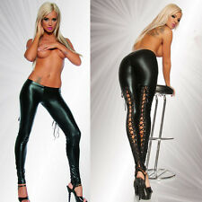 Sexy Women Ladies Gothic Fetish PVC Leather Look Lace Up Leggings Pants Clubwear