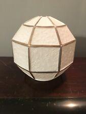"""Vtg Art Deco 5 3/4"""" Geometric Globe Lamp Light Shade White Gold 3 1/4"""" Fitter"""