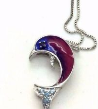 Sterling Silver 925 Topaz Cluster Purple Blue Enamel Dolphin Nautical Necklace