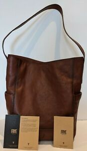 Frye Leather Side Pocket Hobo Shoulder Bag Cognac Top Handle Purse NWT $348