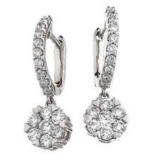 Diamond Daisy Drop Earrings 0.85ct F VS in 18ct White Gold for Pierced Ears