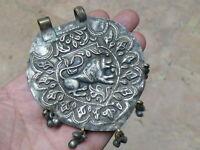 (cB2928) India: Old Pure Silver on Copper, Hand Made Big Pendant