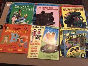 "LOT of 6 Children's Little Golden Disney Book & 7"" 45 33 vinyl Records stories"