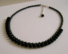 New Hand-Crafted Black Glass Teardrop Bead & Haematite Beaded Necklace