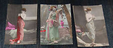 3 - 1910 Era Tinted Postcards Women with Strapless Dresses