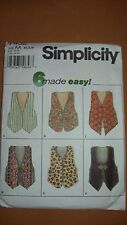 Simplicity 7432  6 made easy Misses Vests - sizes XS, S, M