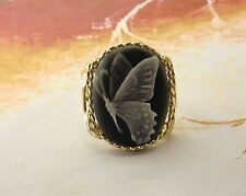 Beautiful Butterfly Cameo Ring 14k Rolled Gold Jewelry Grey