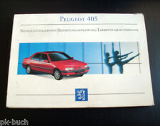Operating Instructions Peugeot 405 Stand 1992