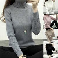 Women Turtleneck Sweater Long Sleeve Knitted Sweater Pullover Jumper BDAU