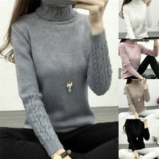 Women Turtleneck Winter Sweater Long Sleeve Knitted Sweater Pullover Jumper Fx