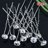 (Pack of 6 pcs) Crystal Rhinestones Hair Pins HY
