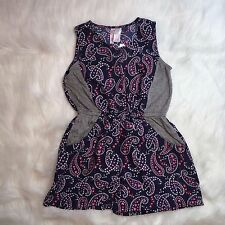 Girls Romper Japna Size 8 Paisley Button Front Multi Colored Cinched Waist - NWT