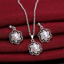 Charm Women Sunflower Rhinestone Crystal Pendant Necklace Earrings Jewelry Set