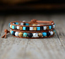 Natural Beaded Turquoise Bracelet Wrap Howlite White Blue Square Leather Agate