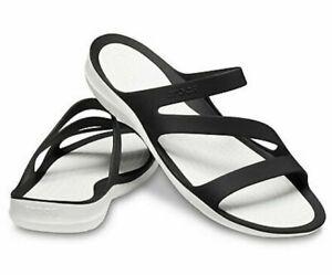 NEW Crocs Swiftwater Black/White Strappy Slide Sandal - Women's 7 - Standard Fit