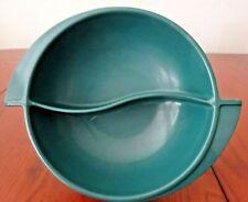 Mid-Century Boonton Melmac Divided Bowl Winged Handled Dark Green-E