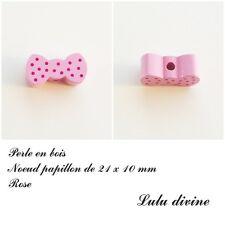 Perle en bois de 21 x 10 mm, Perle plate Noeud papillon : Rose