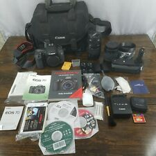Canon Camera Bundle EOS 7D w/ lenses, 2 batteries, manuals, bag Excellent Con.