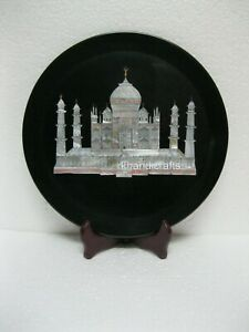 09 Inches Marble Business Plate Hand Made Decorative Plate House Warming Gift