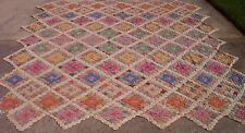 ANTIQUE VINTAGE  HAND  MADE  YO YO QUILT COVERLET TOP