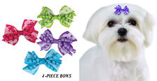 4 pc PREMIUM LACE&LOOP GROSGRAIN HEARTS RIBBON BOWS w/Band DOG Grooming Top Knot