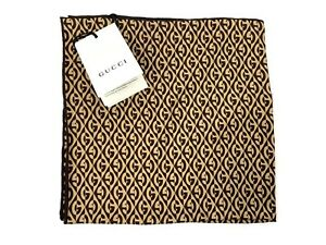 Gucci Silk Pocket Square With G Rhombus - Brown - RRP £110 - Brand New