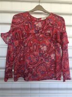 Ruffle Top Size 12 Paisley Print Long Sleeve Boho Blouse Papaya