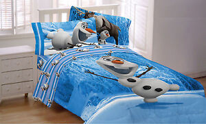 DISNEY FROZEN movie dvd OLAF SNOWMAN Comforter BLANKET & Sheet set Full SIZE NEW