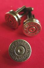 BULLET CUFF LINKS AND TIE TAC/LAPEL PIN WEATHERBY 7mm BRASS NEW UNUSED