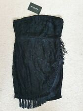 New Black Dress by Pretty Little Things Size 14 UK 42 EU lace and fringe