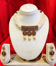 Bollywood Indian Bridal Necklace Earrings Jewellery Antique Gold Tone Pearls P11