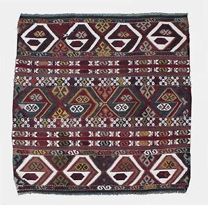 95 years old Antique Kilim Rug, 3.1x3.1ft, Kilim, Malatya Kilim, Tribal Kilim