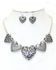 Brighton Beach FILIGREE HEART STATEMENT NECKLACE EARRING SET  18 inch
