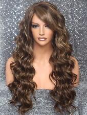Full Heat OK Beach Wavy Long Wig Brown mix Layered Hair Piece 8-27-613 NWT WBKW