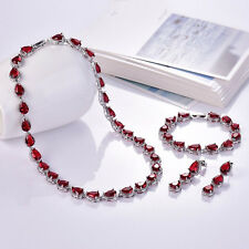 Beautiful White Gold Filled Red and Clear Crystal Jewellery Set