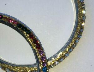 (2) 2 x small size ladies/girls Indian Jewellery Bangle Diamante bangles crystal