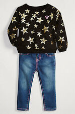 NEW AUTHENTIC TRUE RELIGION STAR GRAPHIC PULLOVER & JEAN BABY GIRLS GIFT SET 12M